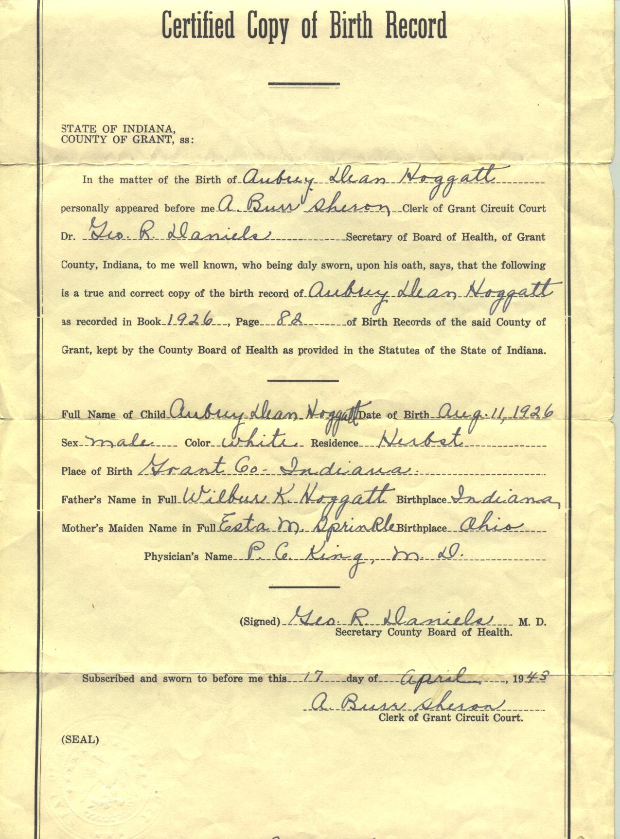 Aubrey dean hoggatt and thelma mae campbell 19260811 aubrey dean hoggatt birth certificates aiddatafo Image collections
